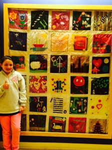 her favorite part of the pediatric floor - a quilt with inspiring messages of hope